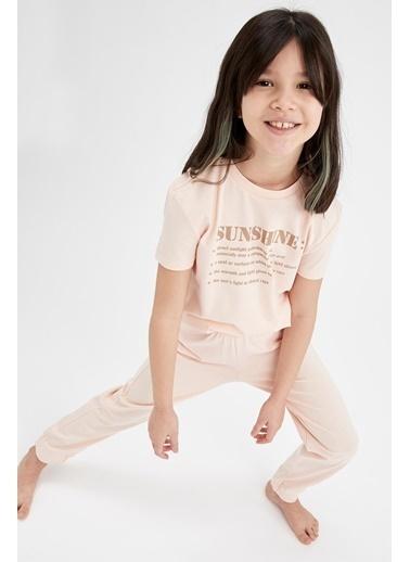 DeFacto Kız Çocuk Yazı Baskılı Kısa Kol Pijama Takımı Pembe